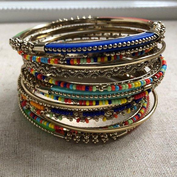 15 pc Indian Chura Gold Muti Color Bracelet Set